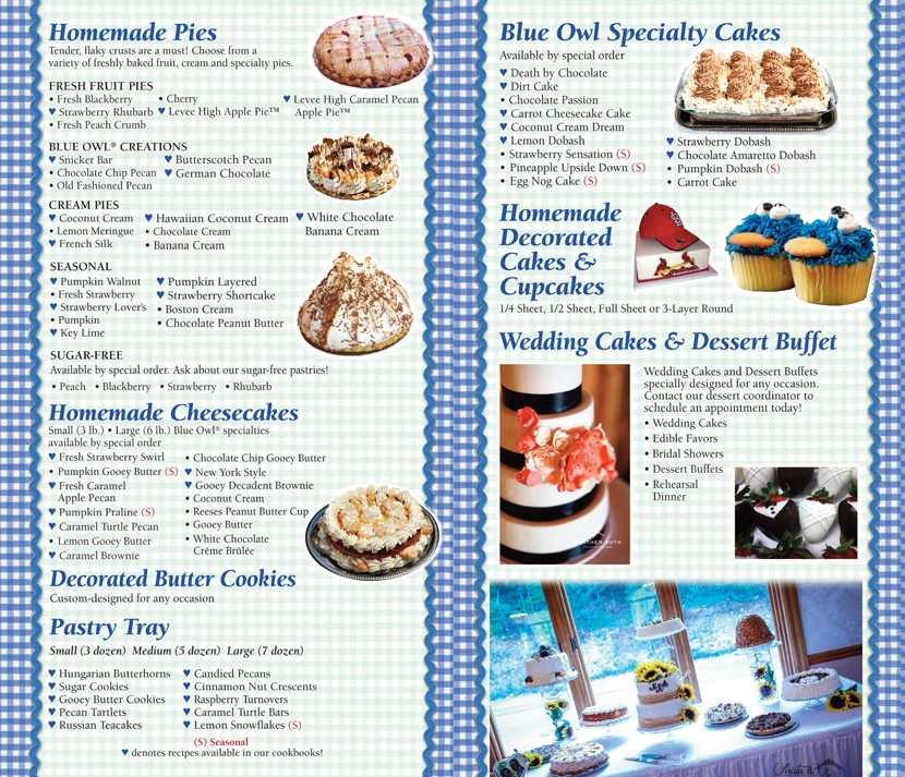 The Blue Owl Dessert Menu