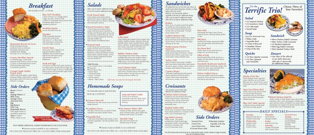 The Blue Owl Menu